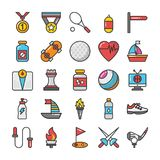 Sports and Games Flat Vector Icons Set 5 Royalty Free Stock Photo