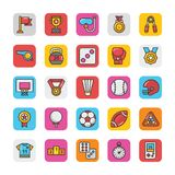 Sports and Games Flat Vector Icons Set 2 Stock Photo