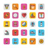 Sports and Games Flat Vector Icons Set 5 Stock Photo
