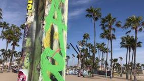 Graffiti Addled Pillar Venice Beach CA 4k 30 fps