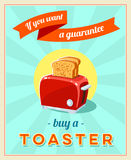 'If you want a guarantee' - vintage retro styled poster with red toaster. Stock Images