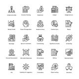Project Management Line Vector Icons Set 10. If you were just about giving up and thinking of hiring a professional to create marvelous project management icons Royalty Free Stock Image