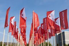 在IFA柏林的沃达丰旗子 库存照片