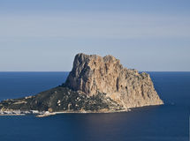 Ifach. Aerial view of the famous mountain called El Peñon de Ifach, located in the Costa Blanca of Spain Royalty Free Stock Images