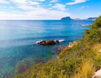 Ifach Penon  from Moraira in Alicante. Ifach Penon view of calpe from Moraira in Mediterranean Alicante at Spain Stock Photography