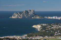 Ifach Penon and Mediterranean sea. Ifach Penon mountain, Calpe, Mediterranean sea,Alicante province, Spain, Europe Stock Photos