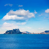 Ifach Penon view of calpe  in Alicante. Ifach Penon view of calpe from Moraira in Mediterranean Alicante at Spain Royalty Free Stock Photography