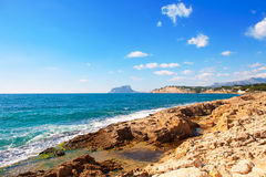 Ifach Penon view from Moraira alicante. In Mediterranean Spain Royalty Free Stock Image