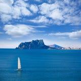 Ifach Penon widok Calpe w Alicante Fotografia Stock