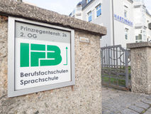 IFB schools. Sign infront of the IFB schools in Rosenheim - copy space to the right Stock Image