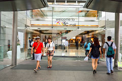 IFC Mall. HONG KONG - MAY 5, 2015: Exterior view IFC Mall. IFC Mall is a 800,000 sq ft, 4-storey shopping mall, with many luxury retail brands and wide variety Stock Image