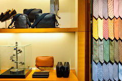 IFC Mall. HONG KONG - MAY 5, 2015: interior of the Dunhill store. Alfred Dunhill, Ltd. is a British luxury goods brand, specialising in ready-to-wear, custom and Royalty Free Stock Photography