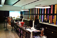 IFC Mall. HONG KONG - MAY 5, 2015: interior of Nespresso store. Nespresso is the brand name of Nestle Nespresso S.A., an operating unit of the Nestle Group. The Royalty Free Stock Photo