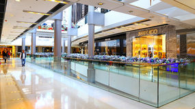 Ifc shopping mall, hong kong. Beautiful interior ifc shopping mall with minimal christmas decorations Royalty Free Stock Photography