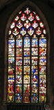 Iffendic, França - 9 de setembro de 2016: Janela de vitral no th imagens de stock royalty free