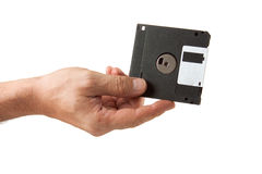 Ifloppy disk in hand Royalty Free Stock Images