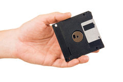 Ifloppy disk in hand Royalty Free Stock Photography
