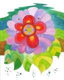 Iflower. Hand painted,floral illustration, big abstract flower on colored background royalty free illustration