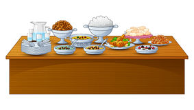iftar党的可口菜单在桌上 皇族释放例证