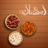 Iftar党邀请招呼的赖买丹月Kareem慷慨的赖买丹月问候用阿拉伯语徒手画宗教回教的 免版税图库摄影
