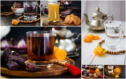 Iftar drink collage - juice, water and tea on a table. Iftar drink collage - juice, water and tea on a table Royalty Free Stock Image