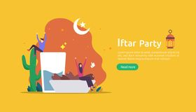 Iftar Eating After Fasting feast party concept. Moslem family dinner on Ramadan Kareem or celebrating Eid with people character. Web landing page template vector illustration