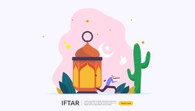 Iftar Eating After Fasting feast party concept. Moslem family dinner on Ramadan Kareem or celebrating Eid with people character. Web landing page template royalty free illustration