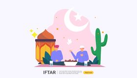 Iftar Eating After Fasting feast party concept. Moslem family dinner on Ramadan Kareem or celebrating Eid with people character. Web landing page template stock illustration