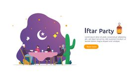 Iftar Eating After Fasting feast party concept. Moslem family dinner on Ramadan Kareem or celebrating Eid with people character.