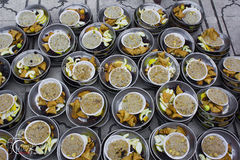Iftar at Mosque. An Arab Iftar, for breaking the fast in Ramadan, with Fruits , dates and traditional sweet and other items Stock Image