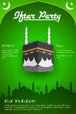 Iftar party flyer with Mecca Royalty Free Stock Images