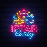Iftar Party invitation card vector illustration. Iftar Party Festive Illustration Design template in modern neon style. Muslim holiday of holy month Ramadan Stock Images