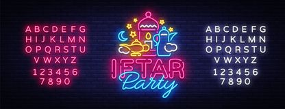 Iftar Party invitation card vector illustration. Iftar Party Festive Illustration Design template in modern neon style. Muslim holiday of holy month Ramadan Royalty Free Stock Photos