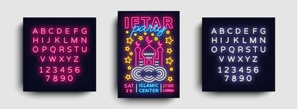 Iftar party invitation design template vector. Iftar Party leaflet flyer modern style, neon style, light banner, festive. Iftar party invitation design template Royalty Free Stock Photo