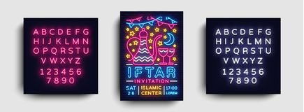 Iftar party invitation design template vector. Iftar Party leaflet flyer modern style, neon style, light banner, festive. Iftar party invitation design template Royalty Free Stock Photos