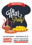 Iftar party invitation design with traditional jug, and sweets w. Ith details of event Stock Photo