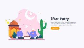 Iftar que come despu?s de concepto de ayuno del partido del banquete Cena musulm?n de la familia en Ramadan Kareem o Eid de la ce stock de ilustración