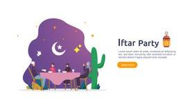 Iftar som äter efter fasta festmåltidpartibegrepp Muslimsk familjmatställe på Ramadan Kareem eller firaEid med folkteckenet stock illustrationer