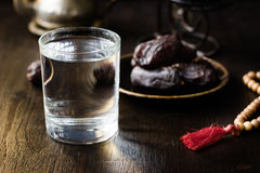 Iftar water for Ramadan fast opening. Royalty Free Stock Photography