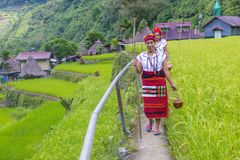 Ifugao ethnic minority in the Philippines. BANAUE, PHILIPPINES - MAY 02 : Women from Ifugao Minority near a rice terraces in Banaue the Philippines on May 02 Royalty Free Stock Images