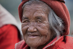 Ifugao woman in national dress next to rice terraces in Banaue, Philippines. Royalty Free Stock Photography