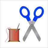 Igła, nić i nożyce, (kolor) Ilustracja Wektor