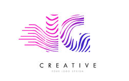 IG eu zebra de Q alinho a letra Logo Design com cores magentas Imagem de Stock Royalty Free