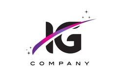 IG I Q Black Letter Logo Design with Purple Magenta Swoosh. And Stars stock illustration