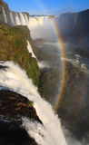 Igausy falls with rainbow. Iguassu Falls is the largest series of waterfalls on the planet, located in Brazil Royalty Free Stock Photo