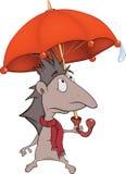 Igeles mit einem Regenschirm lizenzfreie abbildung