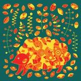 Igelkott i höstskog med äpplen, sidor, champinjoner vektor stock illustrationer