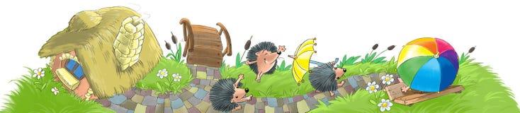 Igelkottar inhyser och arbeta i trädgården stock illustrationer