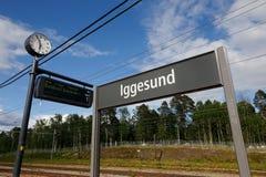 Iggesund järnvägstation royaltyfri fotografi