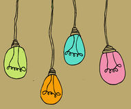 Ight bulb idea in illustration Royalty Free Stock Images